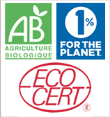 Logos AB Agriculture Biologique, 1% pour la Planète et Ecocert